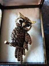 Golden crystal Owl Brooch