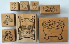 9 Kids Bed Time Rubber Stamps by JRL Design Bubble Bath Teddy Bear Toothpaste +