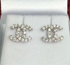 18k Solid White Gold Cute Italian Stud Earrings With ZC, 2.60Grams