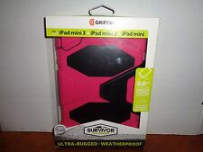 Genuine Griffin iPad mini 2 3 Retina Case Stand Pink Black Survivor All-Terrain