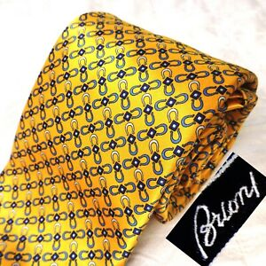 NWOT BRIONI Hand Made Italy Silk Tie Glossy Gold + Blue Equestrian Chain-Link