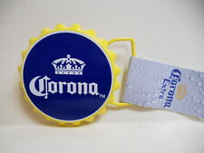 NWT CORONA Beer CAP BOTTLE blue and yellow CIRCLE ROUND Belt Buckle