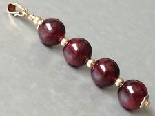 Beautiful Round Garnet Gemstones 14ct Rolled Gold Pendant