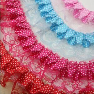 1-5 Yards 2-Layer Dot Pleated Edge Gathered Ribbon Frilled Lace Trim DIY