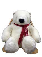 "Large Vtg Xmas Coca Cola Polar Bear Plush Stuffed Animal 20"" Boyds Tags Coke Toy"