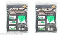 (2)Light Duty Green Tarp Cover 4' X 6' Poly Vinyl Shelter Camping Survival Kit