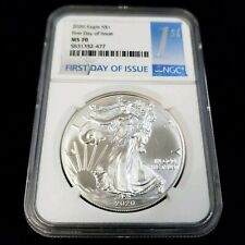 2020 US American Silver Eagle $1 NGC MS70 First Day Issue Bullion Coin YO2477