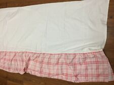 "PINK WHITE  PLAID BED SKIRT TWIN SIZE 14"" DROP CHECK COUNTRY GIRLS DUST RUFFLE"