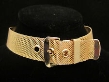 "Amazing Vtg 15""x1"" Gold Tone Mesh Buckle Statement Choker Necklace A17"