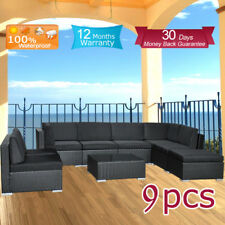 Wicker Rattan Garden Set Indoor Outdoor Sofa Lounge couch Setting Furniture 9Pcs