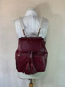 NEW Tory Burch Imperial Garnet Leather Fleming Backpack $558