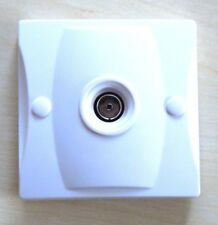 Single Aerial Coaxial TV Socket Wall Face Plate - White
