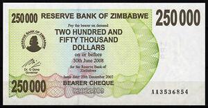Zimbabwe 250,000 Dollars 2007 Bearer Cheque | AA-prefix UNC P50 pre-trillion