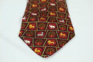 Salvatore Ferragamo Mens Silk Tie Red Multicolor Burgundy Animal Print