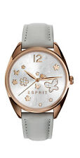 Esprit -tp10892 light grey ES10822004 Damenuhr rose Leder mit Steinen neu