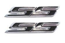 PAIR Black Super Sport SS Side Fender Trunk Hood Emblem Badge Decal Logo Trim