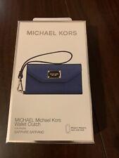 Michael Kors iPhone 5 5S SE  Wristlet Wallet Phone Case Clutch Blue boxed
