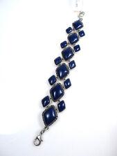Lucky Brand Silver-Tone Geometric Lapis Flex Bracelet