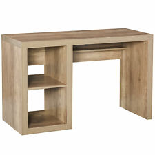 Traditional Natural Wood Home Office Pc Desk w/Storage Shelving and Sturdy Frame