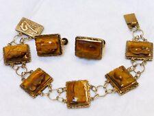Chinese Vintage/Antieque  Sterling Silver Carved Tiger Eye Bracelet, Earring Set