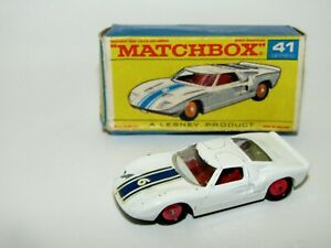 Matchbox Regular Wheels No 41 Ford G.T. RED HUBS VGIB Box Rare