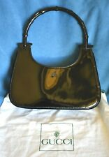 Authentic GUCCI Black Bamboo Handle Patent Leather Purse Handbag Neiman Marcus S