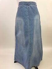 Liz Claiborne Long Maxi Denim Skirt 12P A-Line Back Slit Cotton 12 Petite Casual