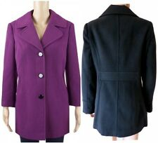 New BHS Ladies Black or Purple Winter Coat Single Breasted Size 10 - 22  BNWT£45