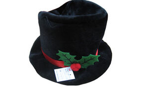 BLACK VELOUR XMAS SNOWMAN HAT WITH WIRED BRIM AND HOLLY DEC