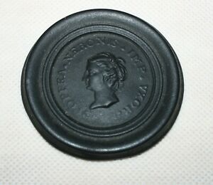 Antique Leed's Pottery Black Basalt Popea Sabina Medallion - Nero's Wife