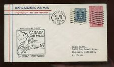British Commonwealth GB First Flight Cover 1939 Shediac New Brunswick to Botwood