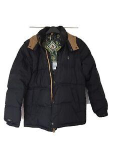 BNWT Volcom Dabbling Parka Jacket Black Puffer Super Warm Material Filled