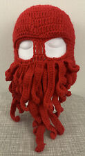 Crotchet Beard Octopus Silly Funny Winter Hat Beanie Adult Red Unisex