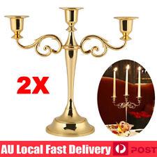 2x Vintage Metal 3 Arms Candelabra Candle Stick Holder Stand Home Wedding Decor