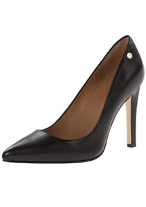 Women Calvin Klein Brady Pump Closed Toe Shoe Leather Black