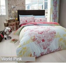 World Pink Single Bed Set with Fitted Sheet & Curtains