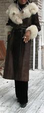 Elegant Pliable Full length Fox fur & dark brown Pony Fur Coat  S-6