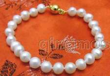 "SALE Big 6-7mm natural white freshwater Pearl 7.5"" bracelet-bra233"