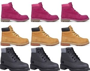 """New Timberland Boots 6"""" Leather Shoes Waterproof Ankle Boys Girls Wheat Sale 2-6"""