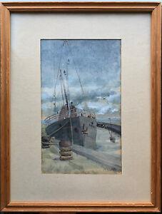 vintage Sailing Naval Boat Maritime Painting By M Lewis