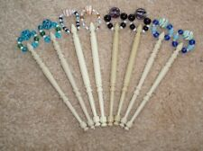 S1*) 4 PAIRS (8) LIGHT PLASTIC LACE MAKING BOBBINS - WITH SPANGLES