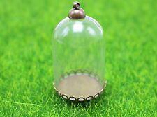 DIY Glass Cylinder Bottle Pendant 25X38mm with Bronze Base Memory Locket Wide Op
