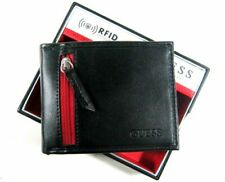 Guess Men's Leather Slim Bifold Wallet With Valet, RFID Protection Black/Red NWT