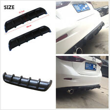 Matte Black ABS Car Rear Shark Fin Style Curved Addon Bumper Lip Diffuser 6 Fins