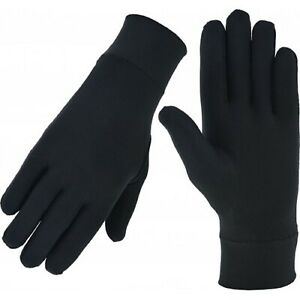 Thin Silk liner inner Gloves Ski motorcycle skiing walking cycling Thermal black