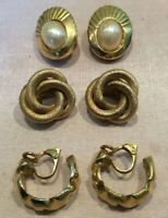 3 Pairs Of Good Quality Gold Plated Vintage Clip On Earrings (one By Sarah Gov)