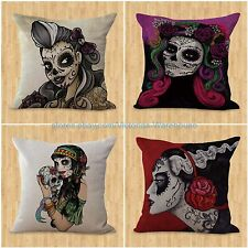 US SELLER-set of 4 cushion covers sugar skull Day of the Dead pillows for couch