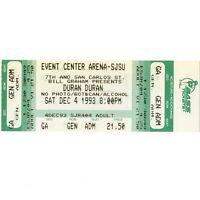 DURAN DURAN & THE CRANBERRIES Concert Ticket Stub SAN JOSE 12/4/93 EVENTS CENTER