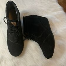 Toms Womens Black Suede Desert Wedge Lace Up Ankle Boots Booties Sz 11W Preowned