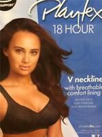 NWT PLAYTEX 18 HOUR V NECKLINE WIREFREE FULL COVERAGE LIGHTLY LINED BRA 40D 4608